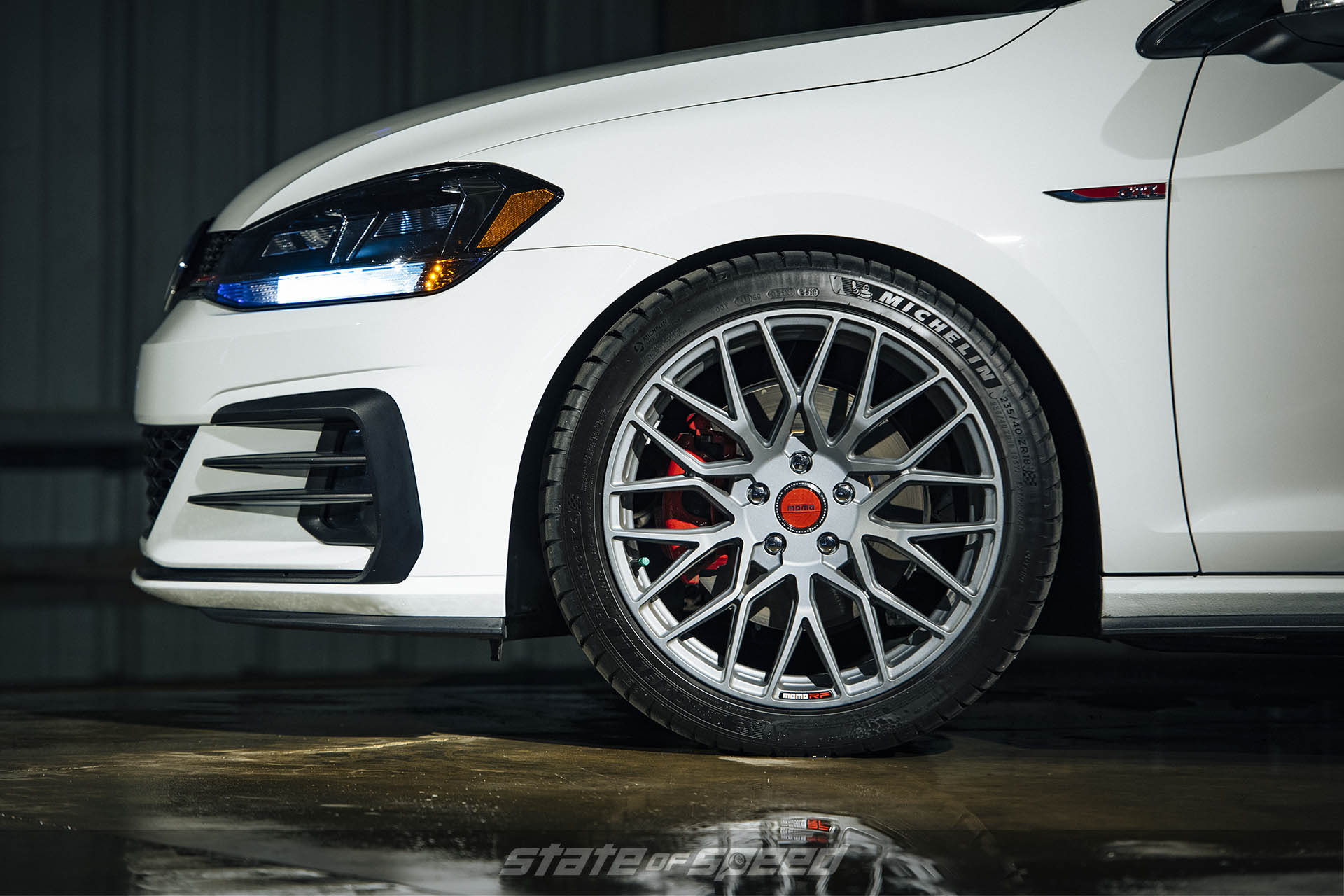 VW GTI with MOMO RF10S flow formed wheels