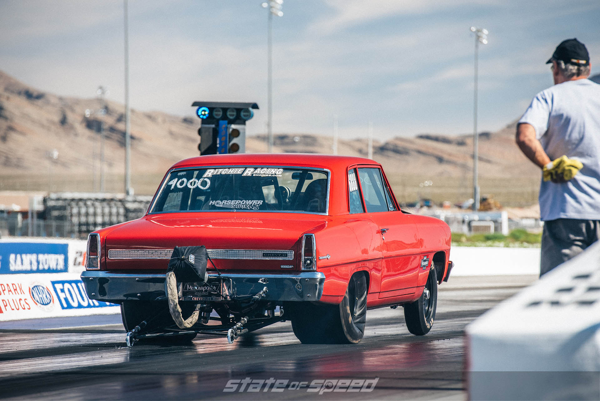 Chevy on the dragstrip