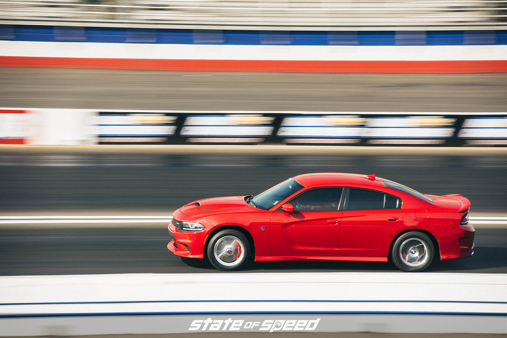 Dodge Charger Hellcat on the dragstrip