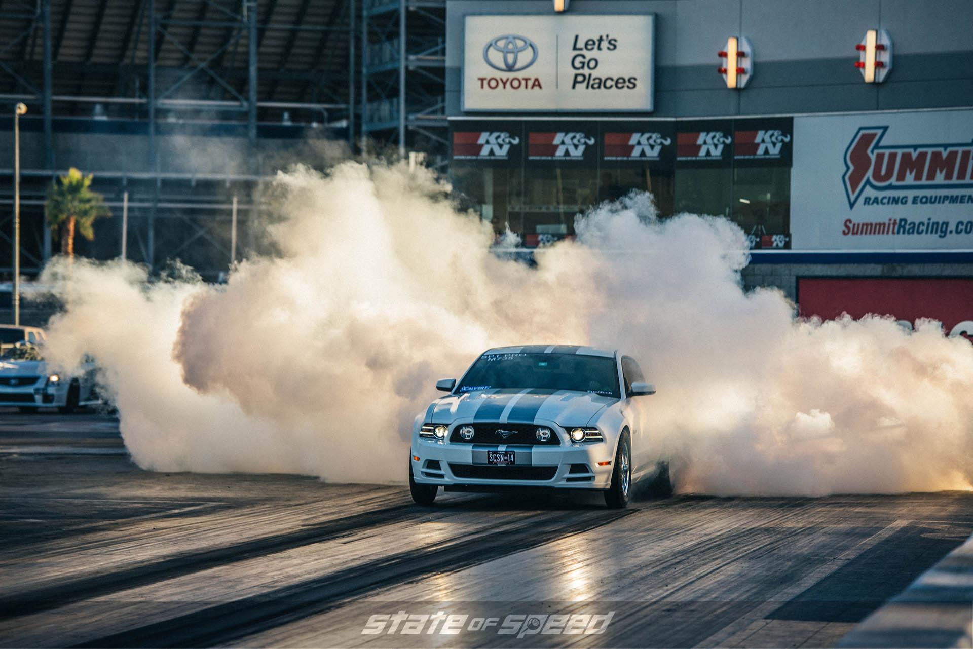 Mustang doing a burnout