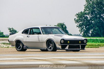 3/4 shot of ford maveric muscle car