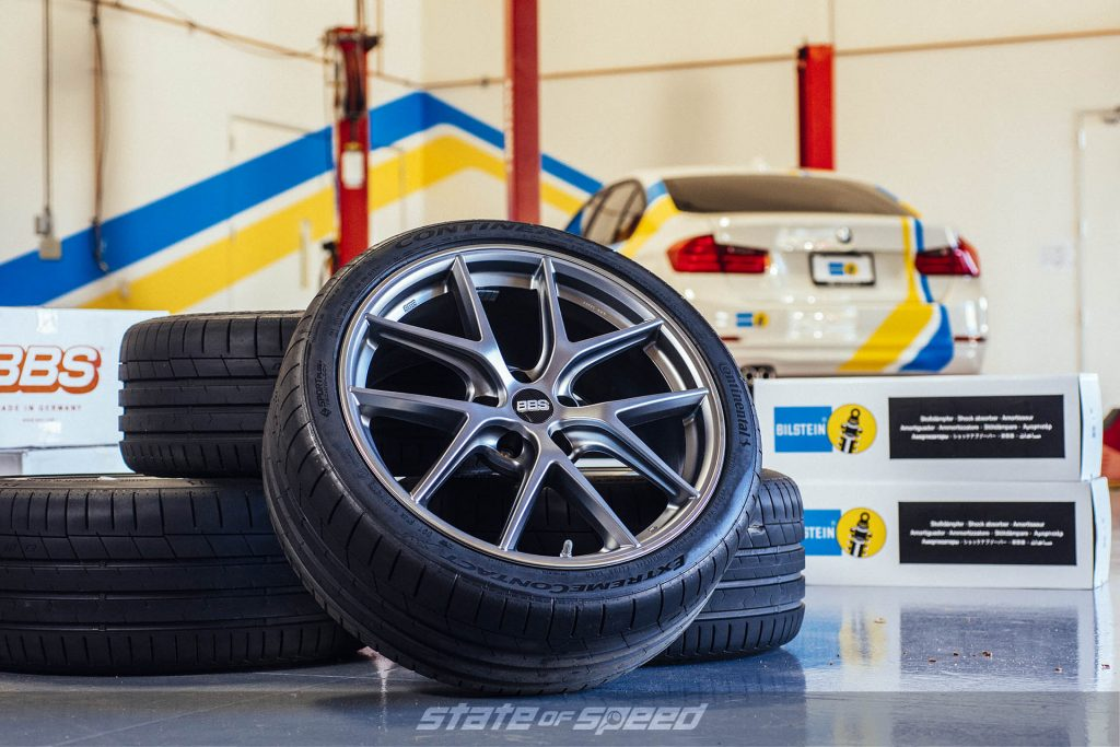 BBS flow formed wheels in front of a BMW