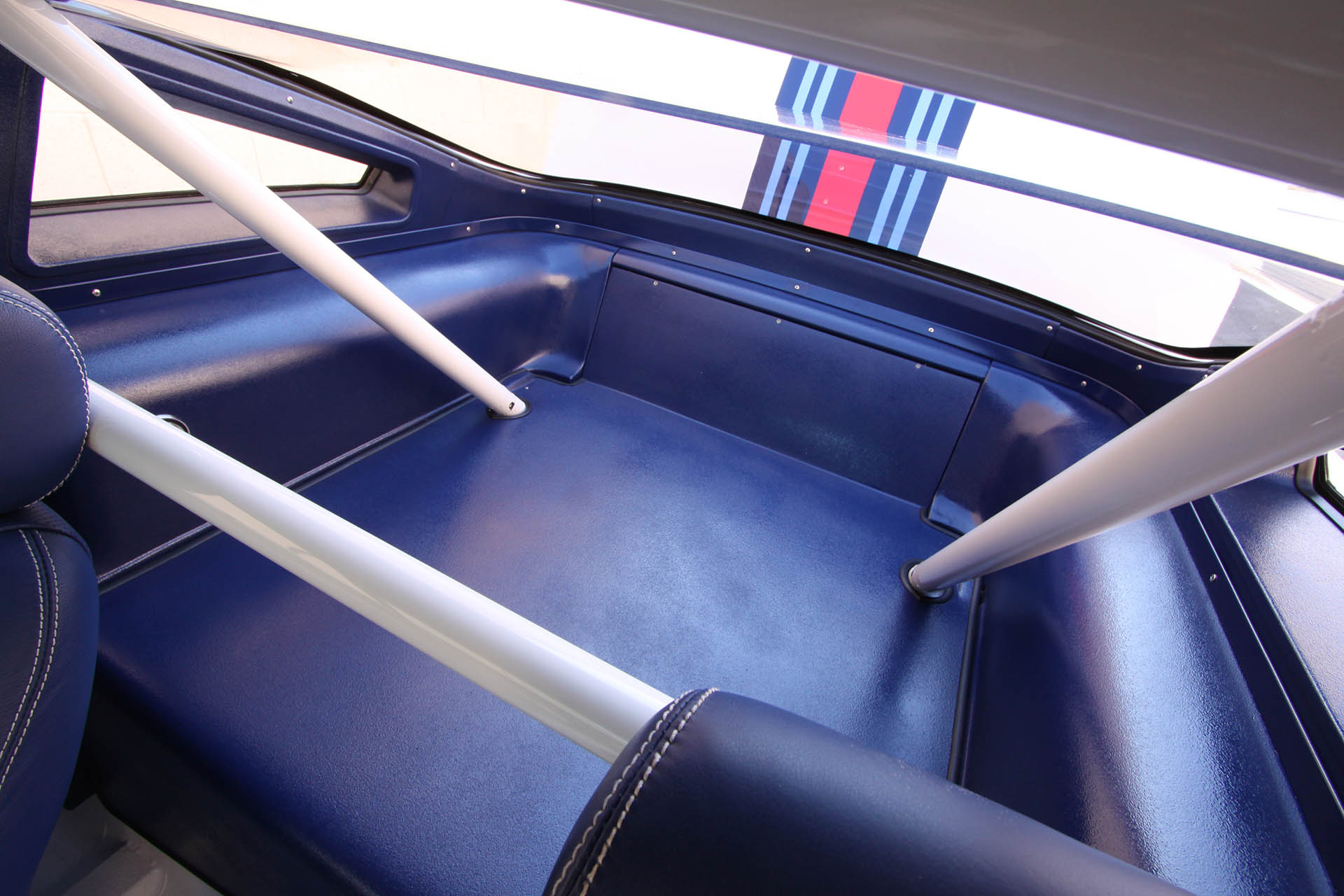 Custom blue Martini Mustang interior