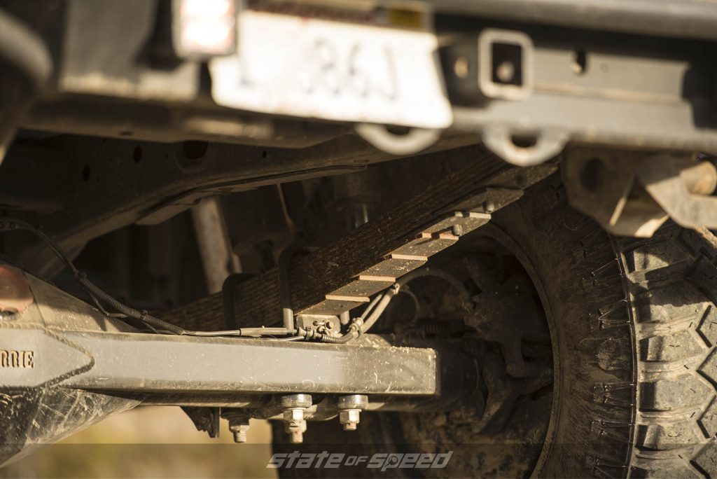 Close up of leaf spring suspension