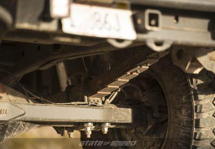 Close up of leaf spring suspension