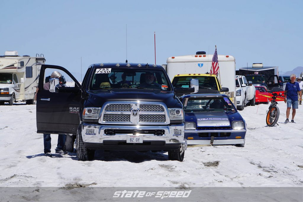 Tough conditions at the saltflats during Speed Week