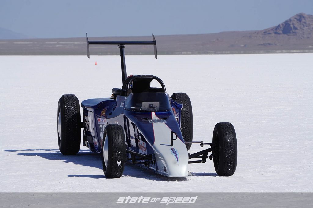 Speed record setting roadster at the salt flats