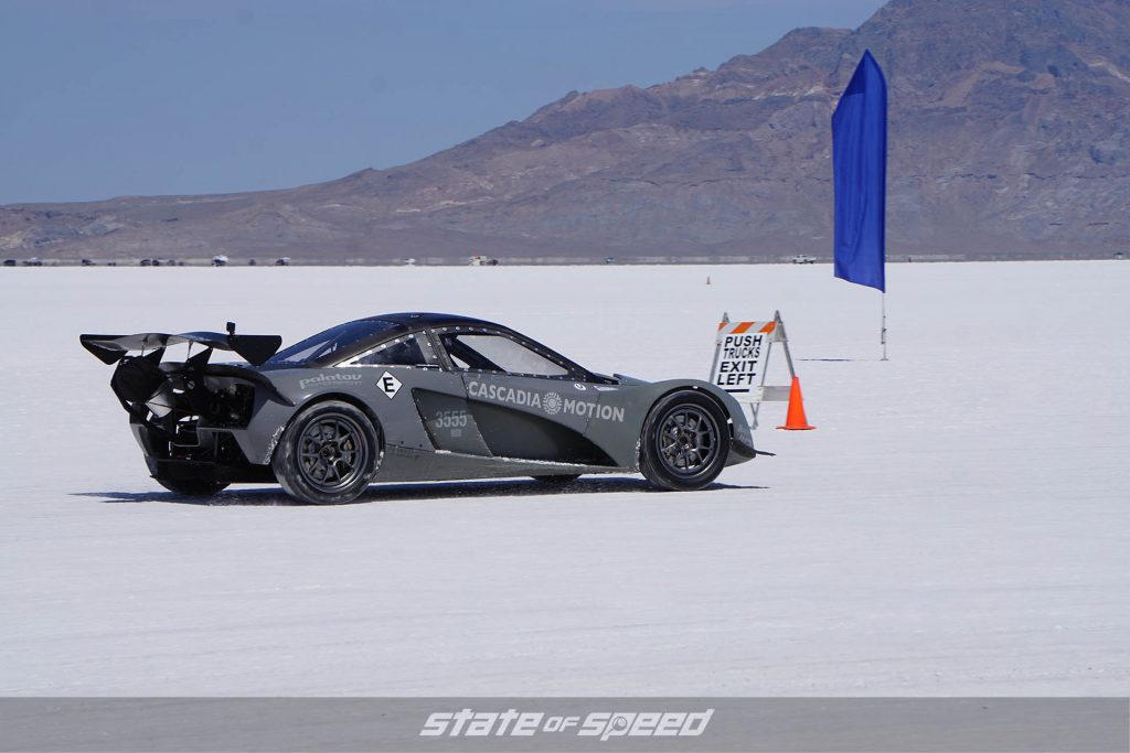Race car at the salt flats