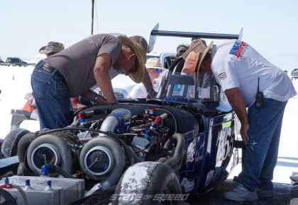 Big twin turbos on roadster at Bonneville