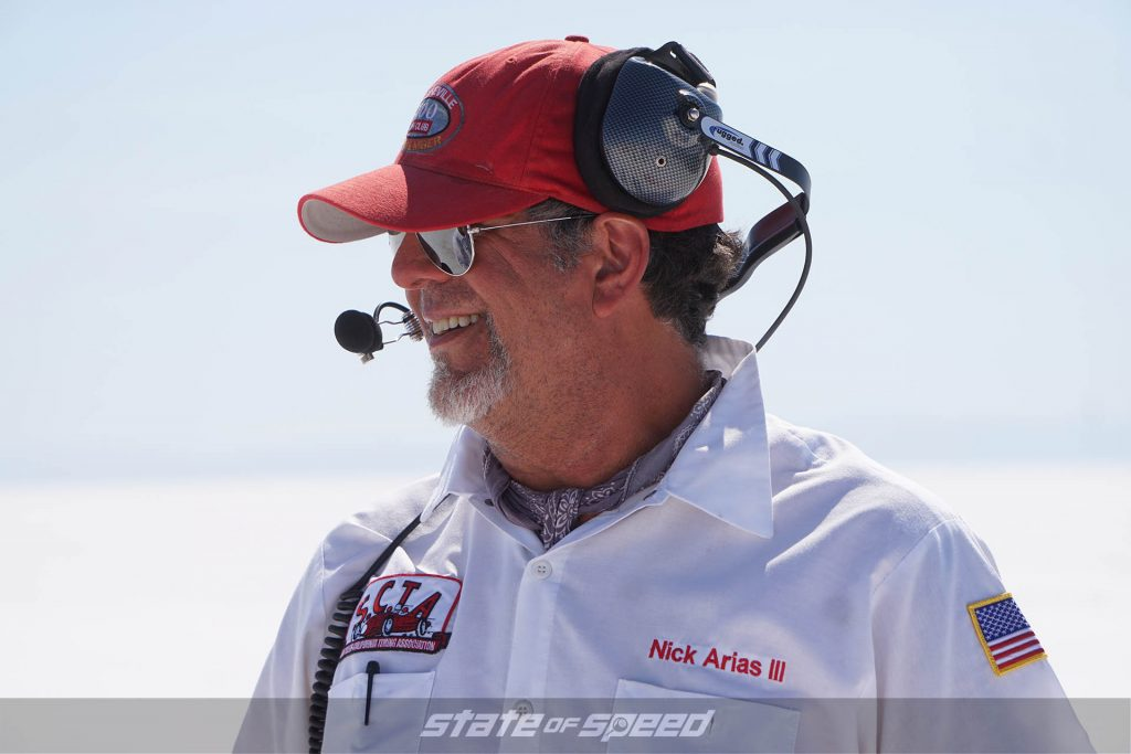 Official at the salt flats during Speed Week