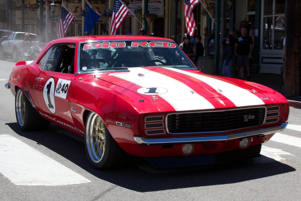 The Camaro z28 driving in the streets