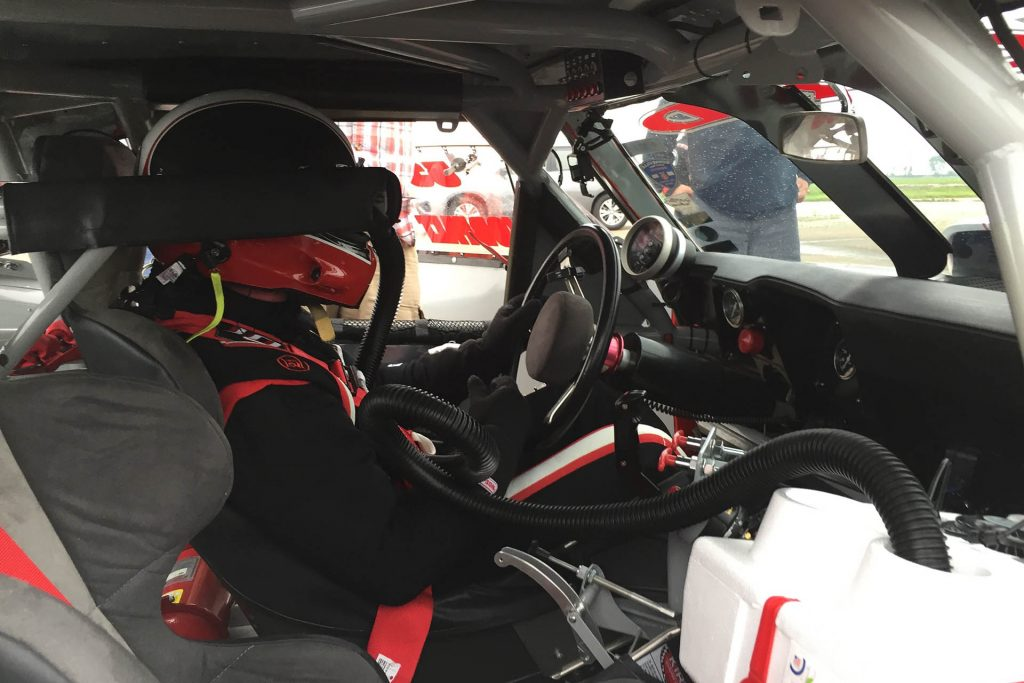 Inside the race car with the driver