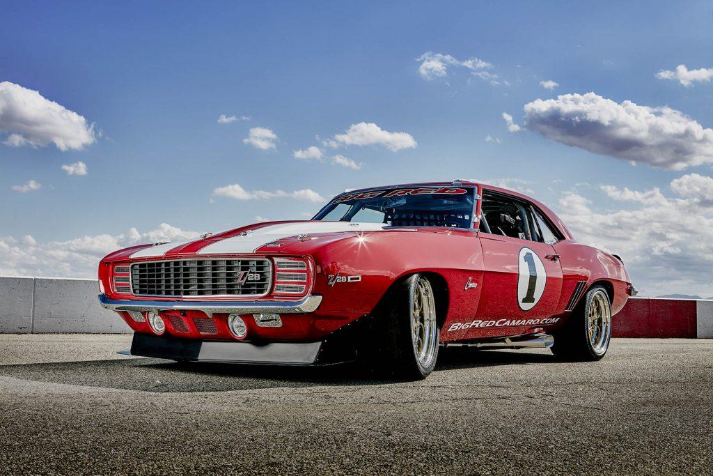 Big Red Camaro on the track