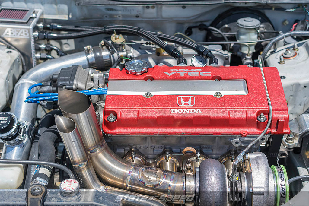 Honda civic with a hood exit exhaust