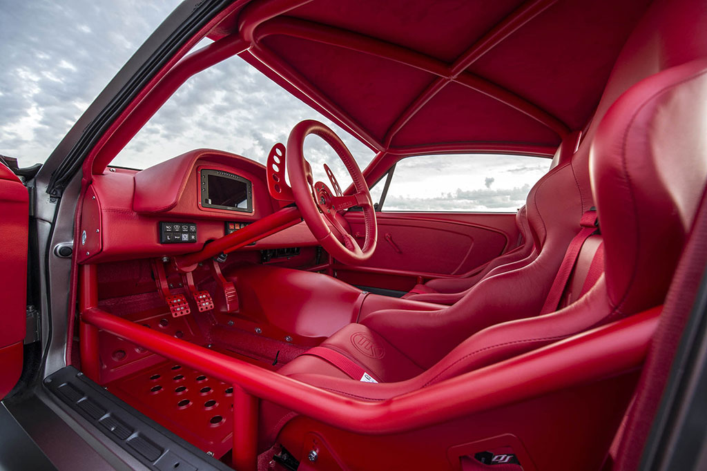 Red leather interior on the vicious mustang