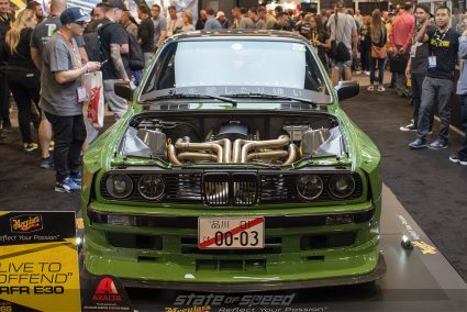 Rebellion Forge Racing E30 at Meguiar's Booth for SEMA 2019 with Live to Offend bodykit