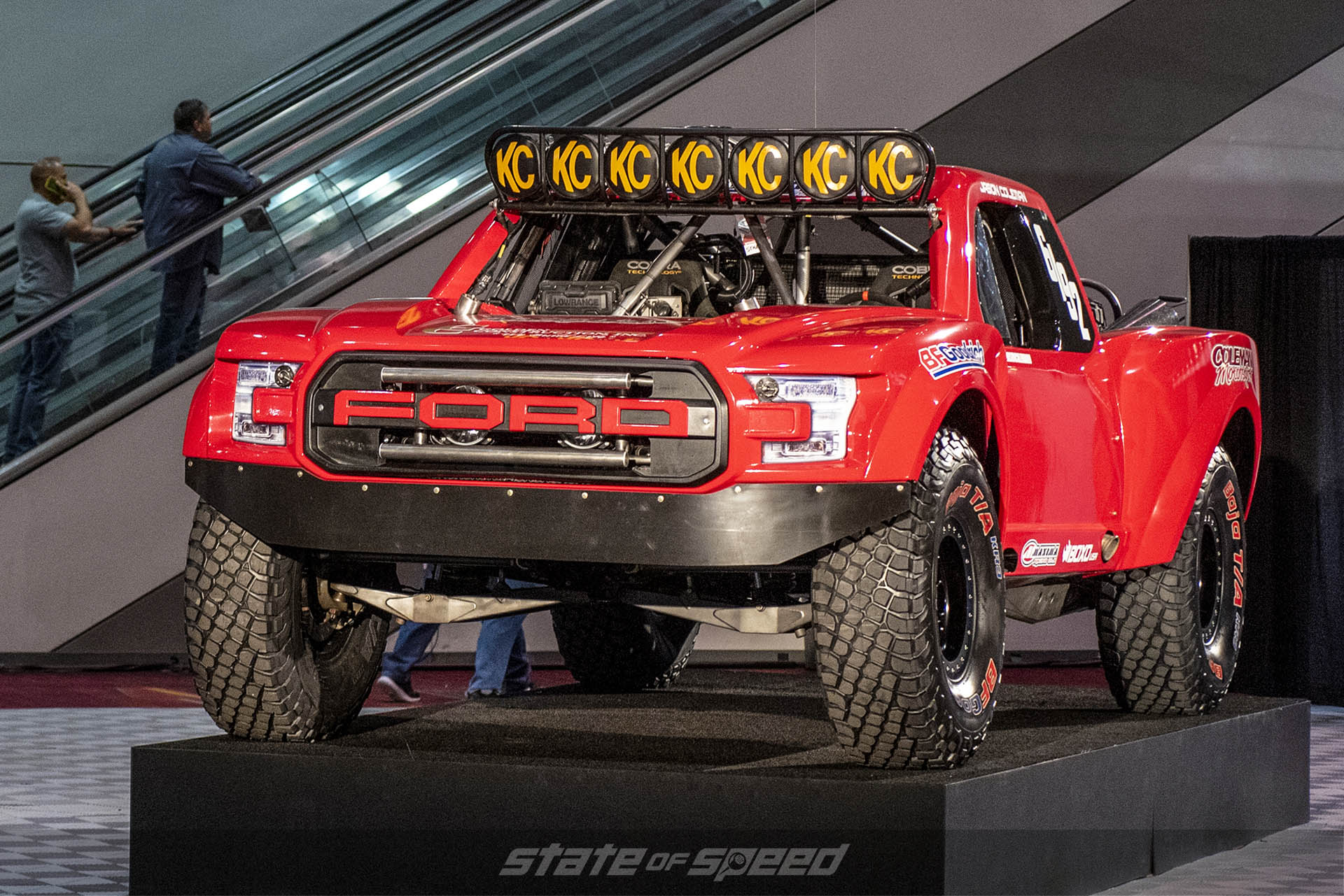 Trophy truck display in the hall of the Las Vegas Convention Center