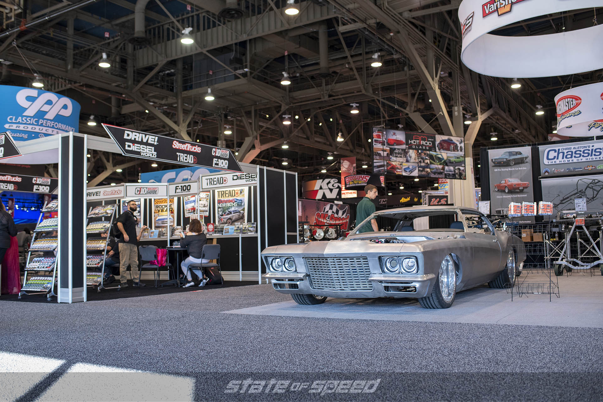 72' Riviera with Katech LT4 built by Fast n' Loud's Gas Monkey Garage in the Chassisworks booth at SEMA 2019