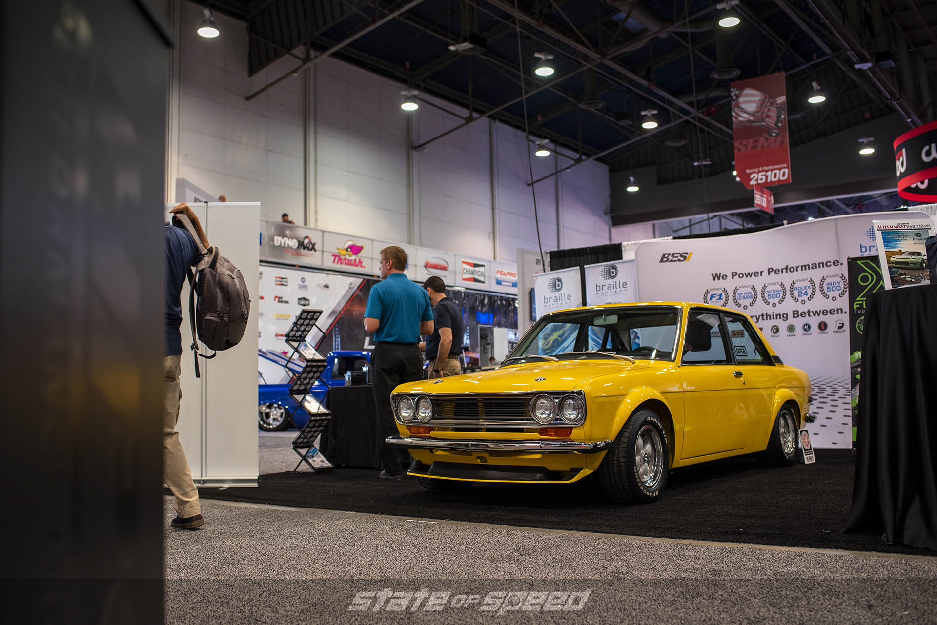 Datsun 510 at a booth during the show