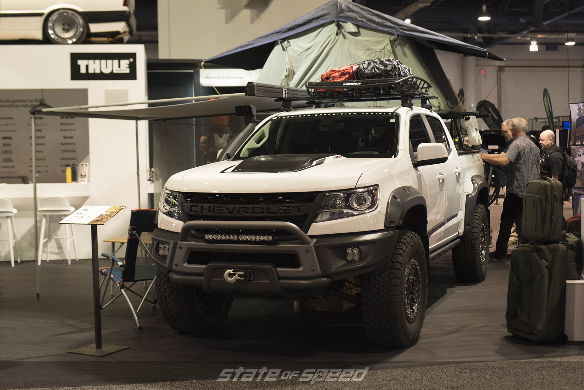 Thule booth displaying an overland chevrolet