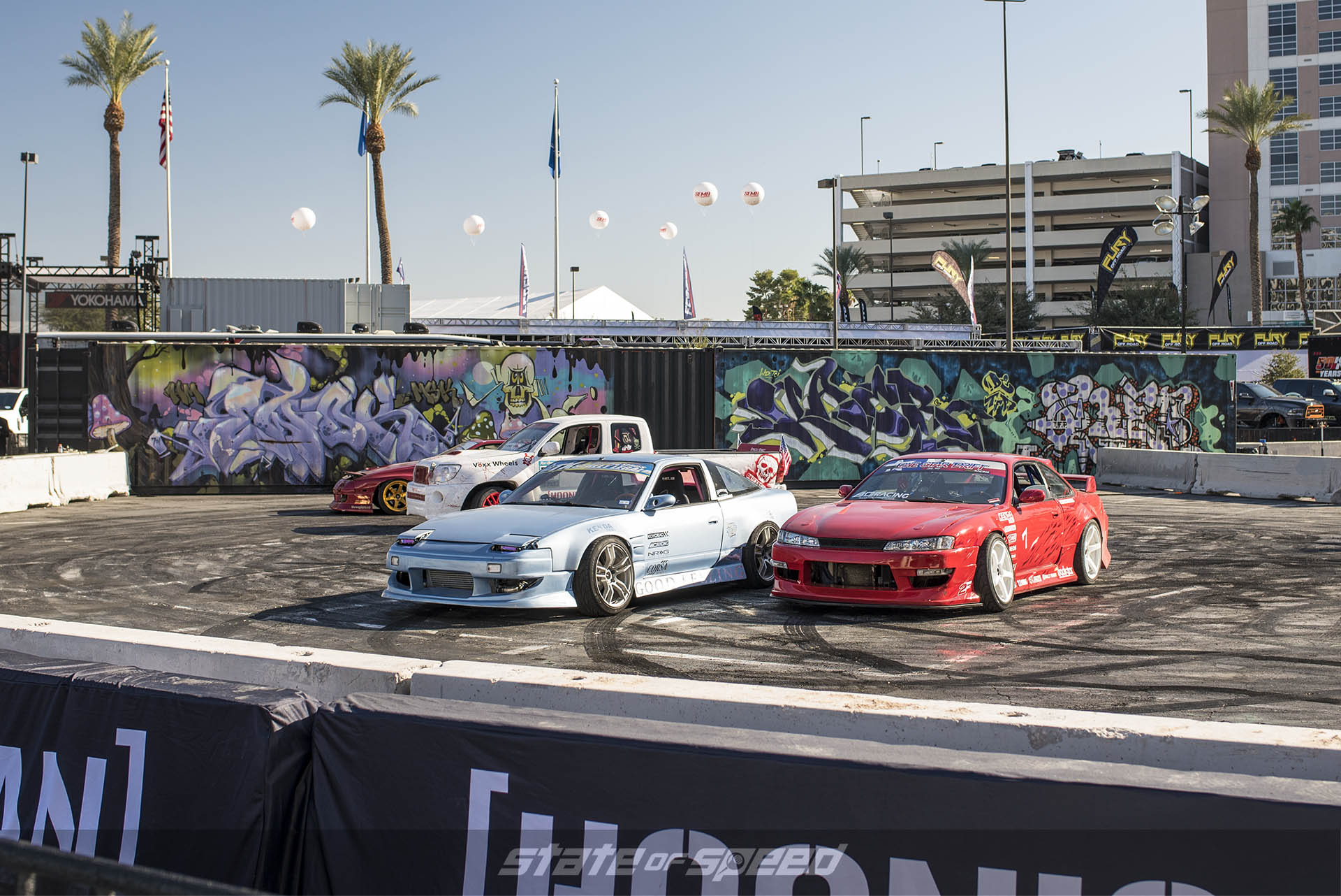 Drift cars at SEMA including Fielding Shredder of Netflix's Hyperdrive