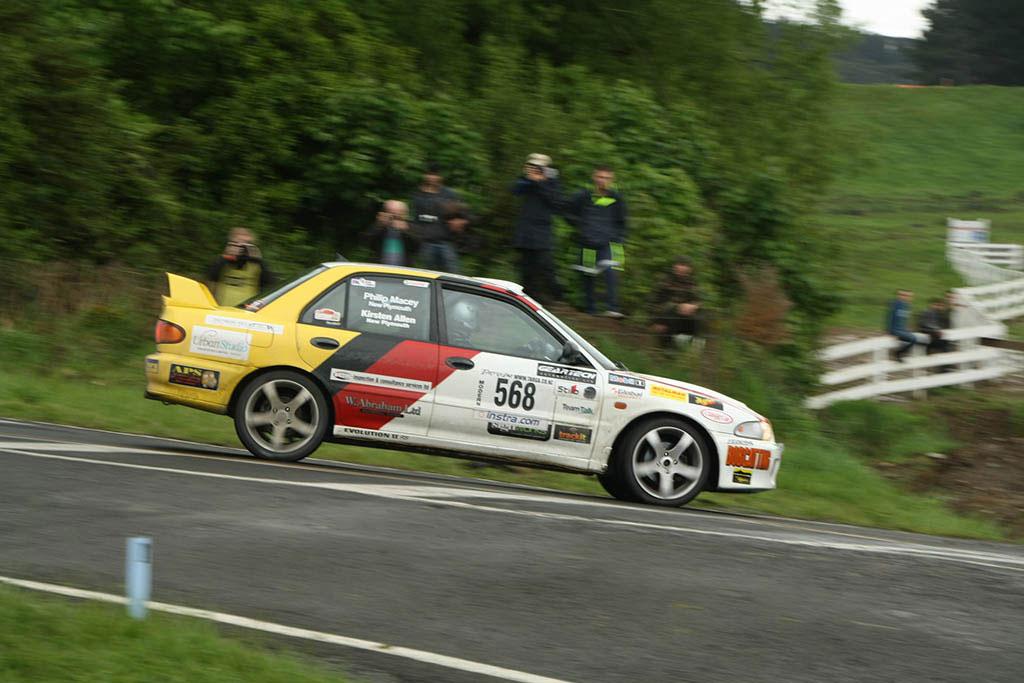 Rally car doing a jump