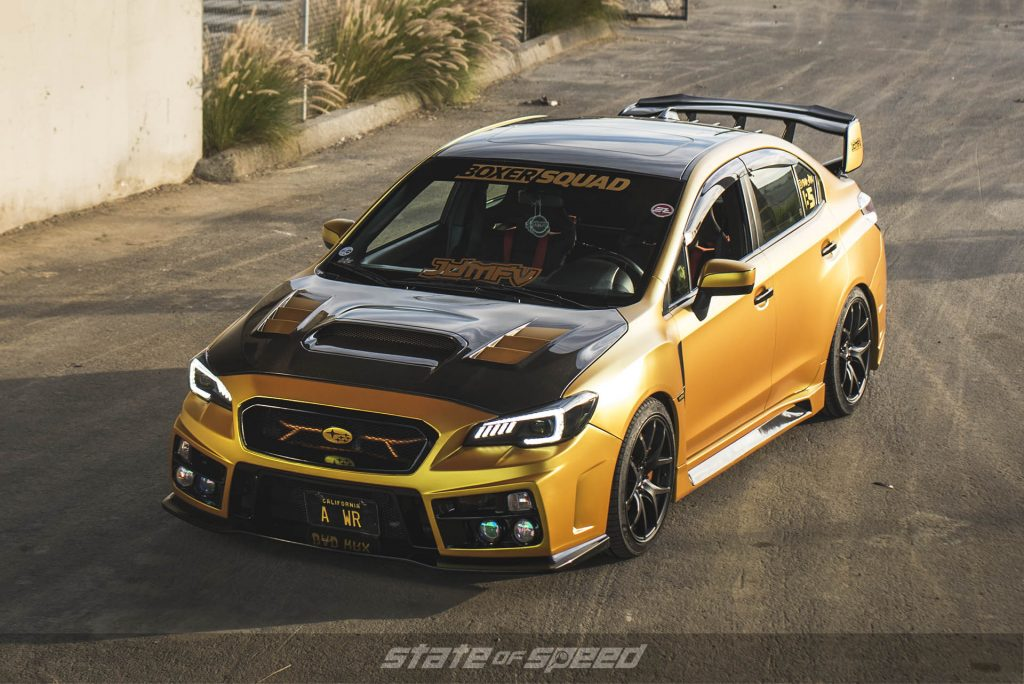 Yellow WRX with carbon fiber hood