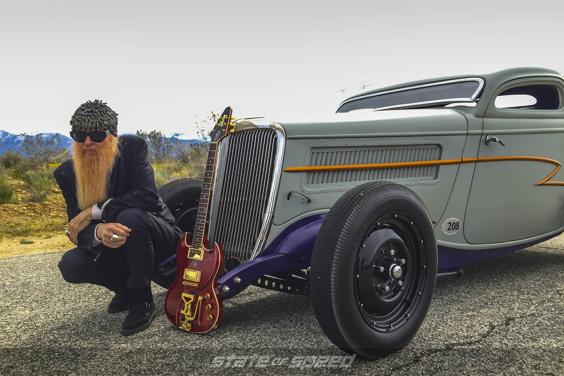 Billy F. Gibbons of ZZ Top with his '34 Ford Deuce and Gibson SG