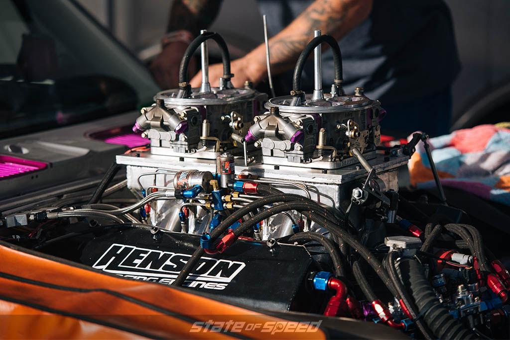 drag car engine being rebuilt