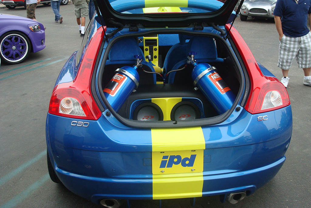 NOS nitrous system in the trunk of a Blue C30