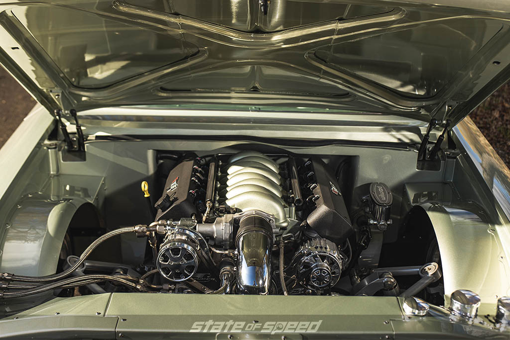 LS3 inside a '61 Impala engine bay