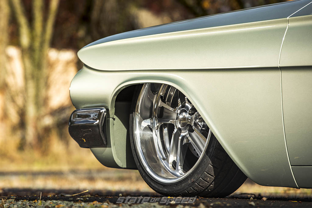 Fresh green paint on a classic car
