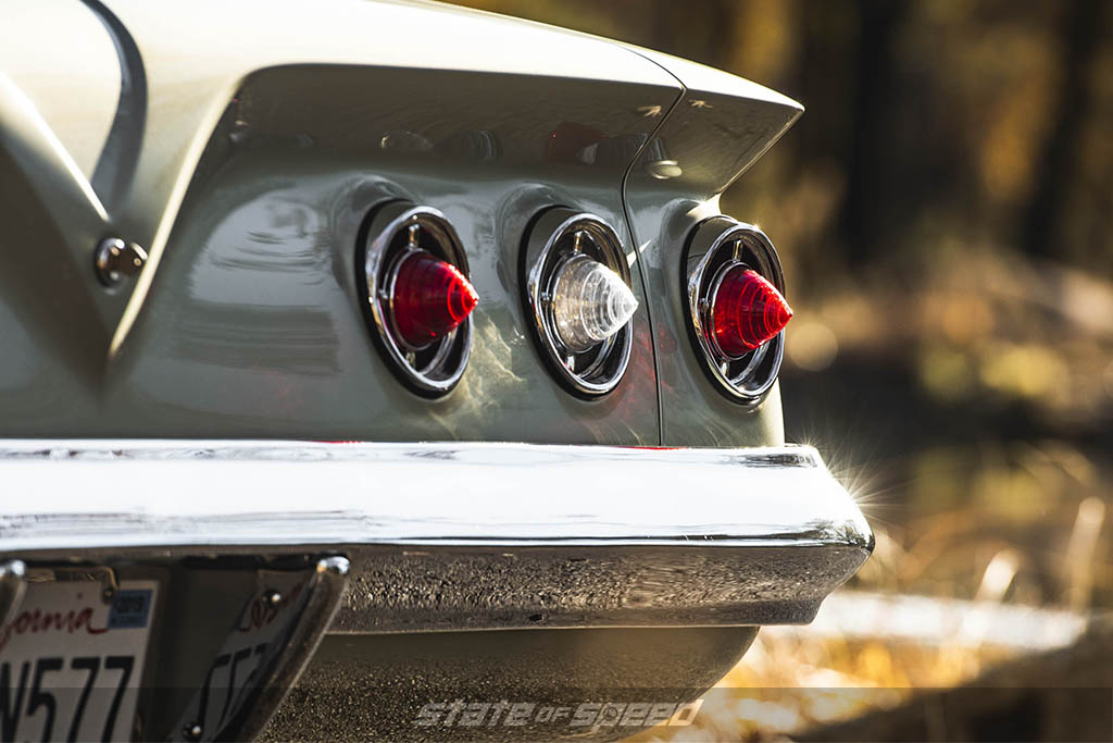 Rear tail lights of a classic car