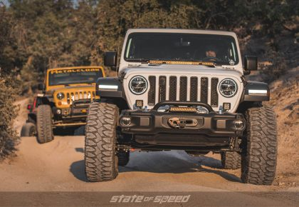 Lineup of Jeeps going trailing
