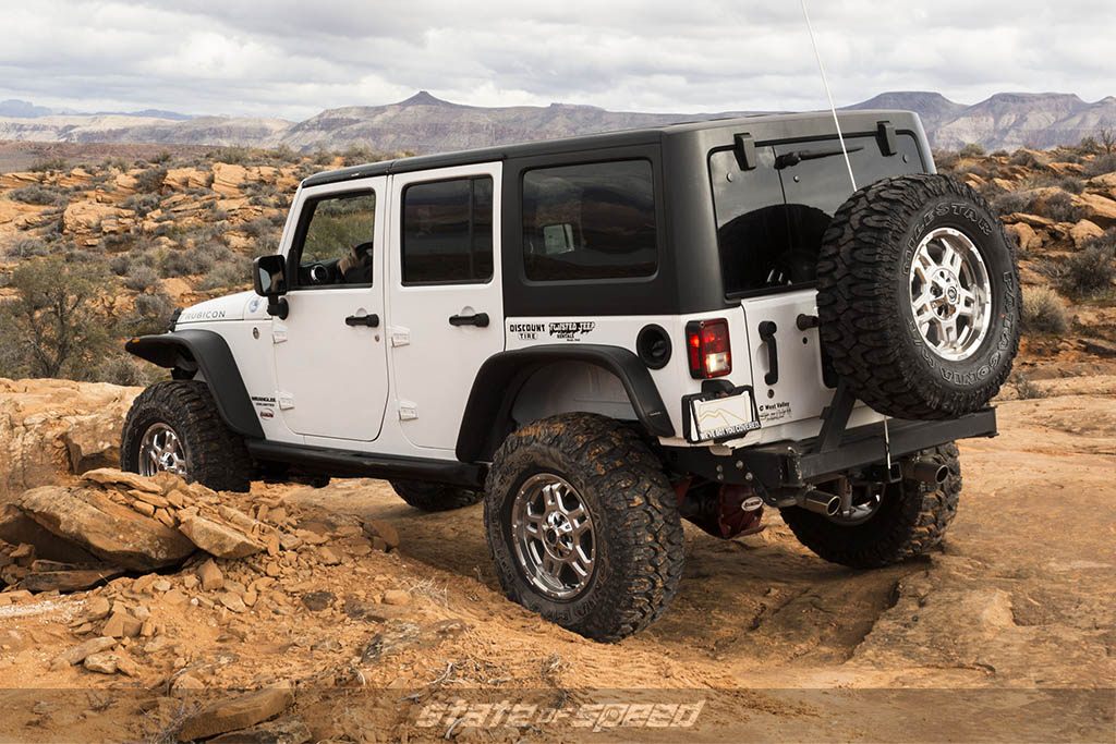 Jeep with a hard top installed