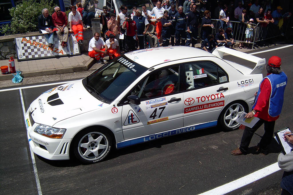 Rally car at the start line