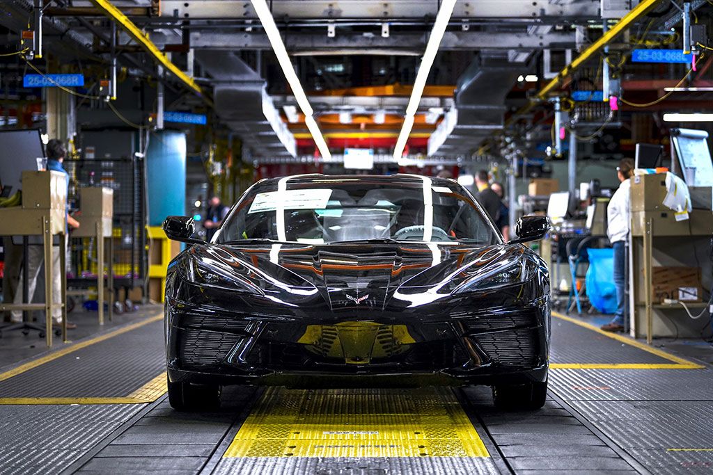 first 2020 chevrolet corvette mid engine c8 rolling off the assembly line