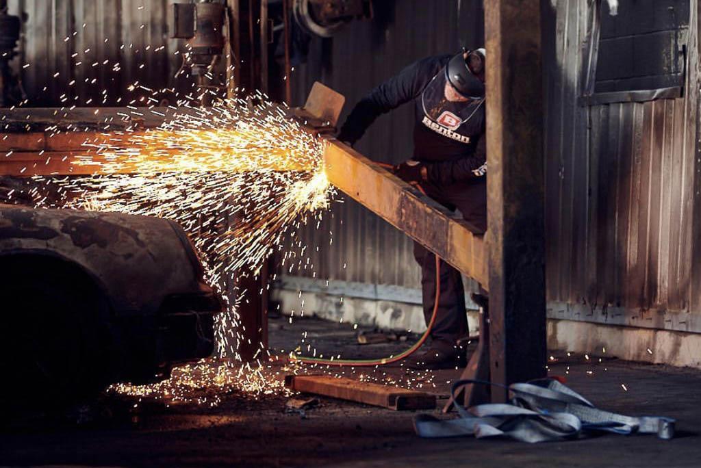 Cutting steel beams at Benton