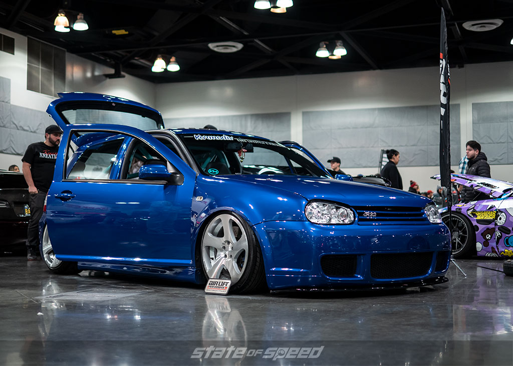 Blue Volkswagen R32 owned by R32Queen at Slammedenuff Socal