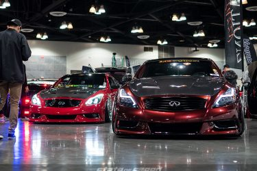 Slammed red Infiniti G37 with custom headlights