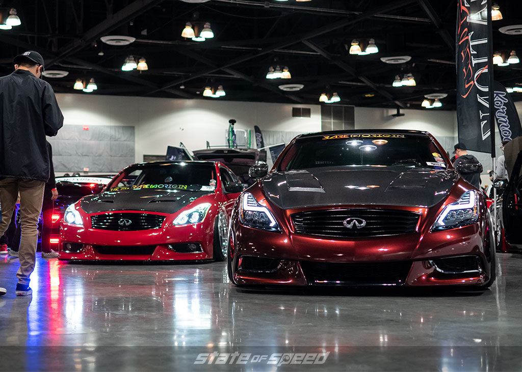 Slammed red Infiniti G37 with custom headlights