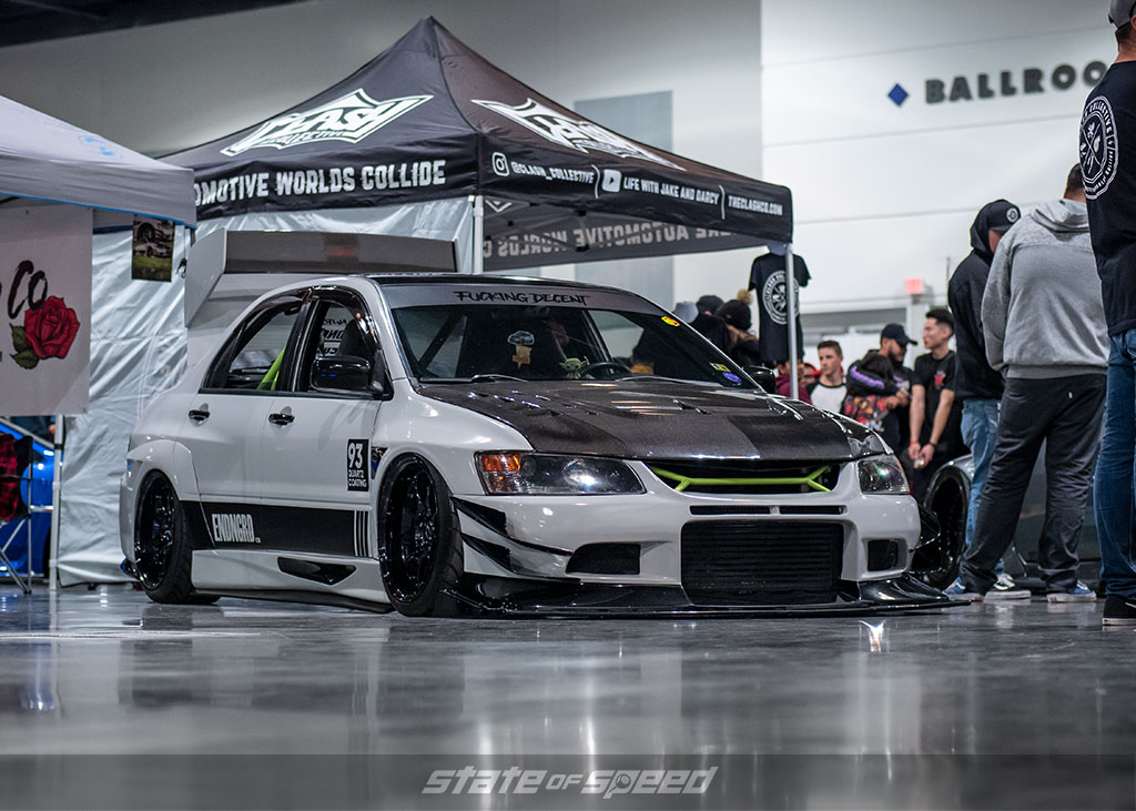 Evo.madi of Endngrd and her Mitsubishi Evo 9 at Slammedenuff Socal 2020