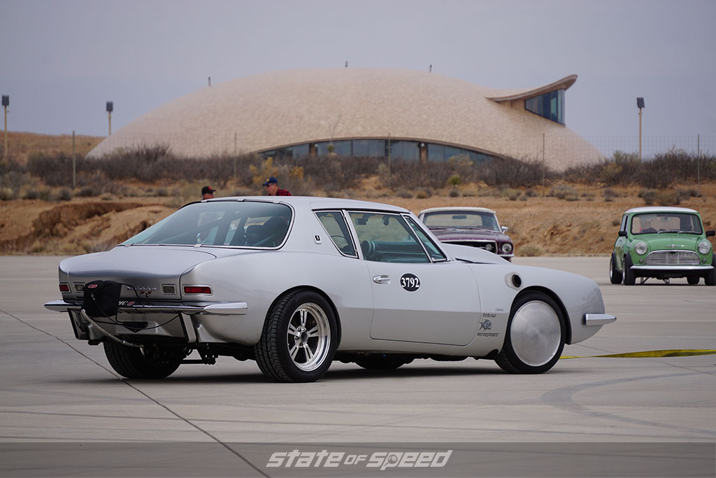Race car built for setting land speed records at Spaceport America