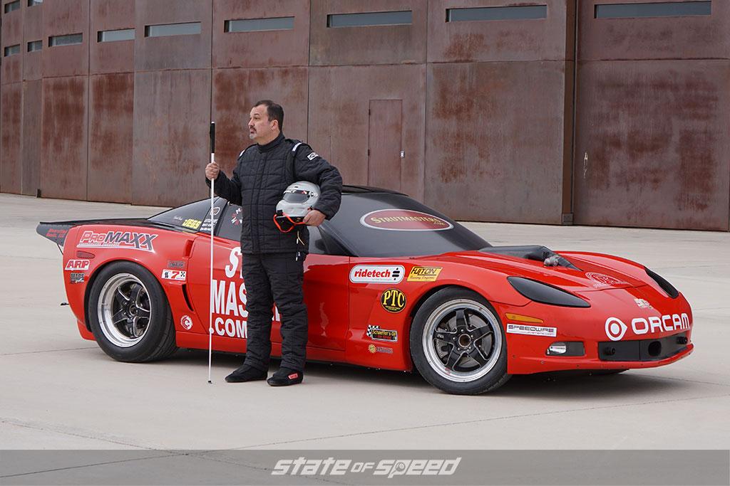 "Dan ""The Blind Mechanic"" Parker and his Corvette"