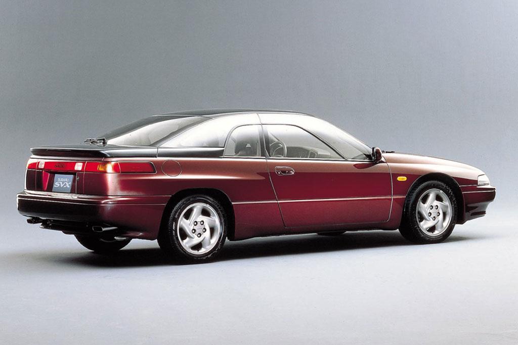 maroon Subaru SVX 2 door coupe JDM import