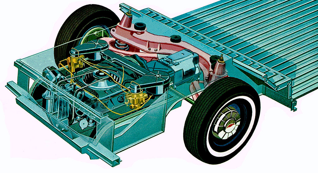 technical illustration of a chevrolet corvair powertrain