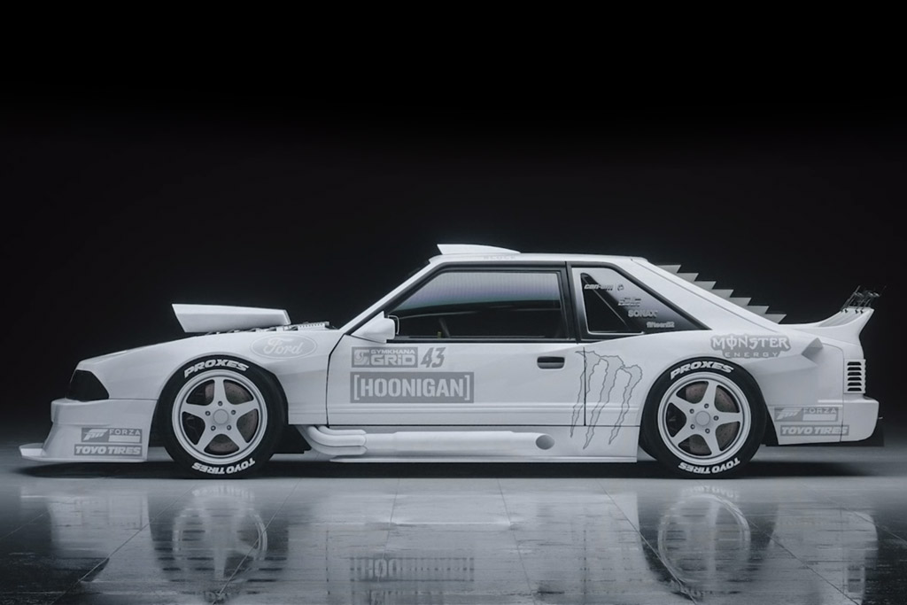 ken block's hoonifox foxbody mustang livery white concept