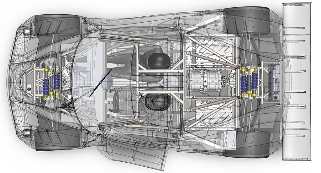 x-ray view of the palatov electric race car