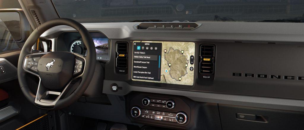 Bronco interior infotainment system
