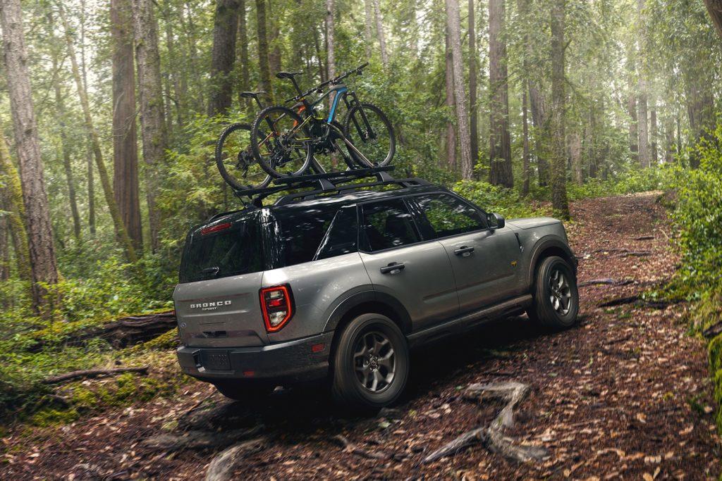 2021 Ford Bronco Sport in the forest with rooftop bike rack